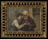 Young Boy Helping An Old Man Light Hispipe
